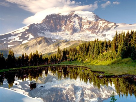 Silent Day - photography, its so cool, sky, mountain lake, reflection, trees