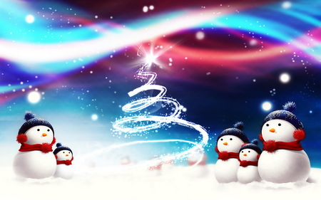 Snowmen - cold, snow, snowmen, tree, winter, christmas, snowman, stars