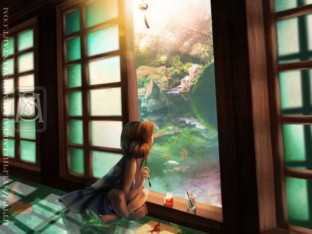 Dreamer - painting, child, anime girl, scenic, painter, house, girl, anime, view, light, scene, paint, garden, fish, drawing, fantasy, night, animal, cute, door, art, draw, children, kid, artist, room, female