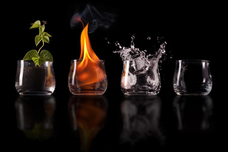 the four elements in glass - four elements, abstract