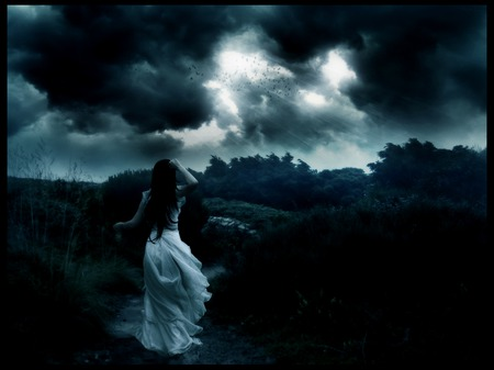 Memories and tears - darkness, black, sky, night, sadness, female, girl, dark, clouds, woman, storm, white, wind, sad, dress