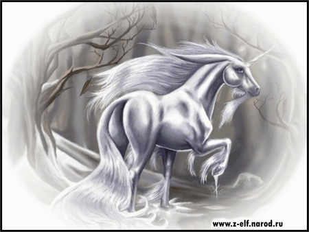 ~White Beauty in the Light of the Snow~ - unicorn, horse, snow, winter, fantasy, beauty
