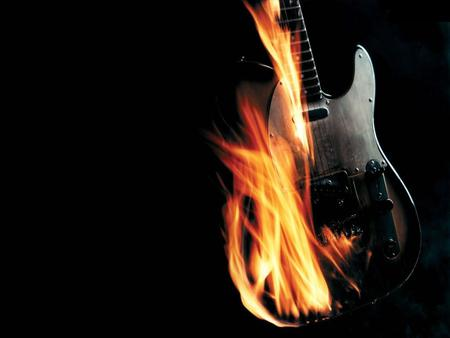 Burning Guitar - fire, burning guitar, black, guitar