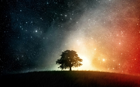 LONESOME IN THA GALAXY - graphic, galaxy, tree