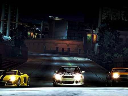 need for speed -underground,ready for race - cars, orange, need for speed-underground, game, night, yellow, light, racing, white, three, street