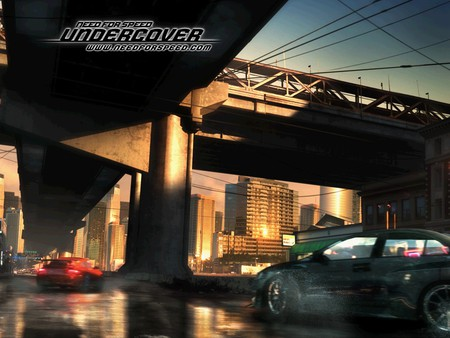 need for speed -undercover,under the bridge - cars, city, fast, racing, need for speed-undercover, bridge, game, ea game, videogame, chasing