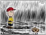 charlie brown in the pouring rain