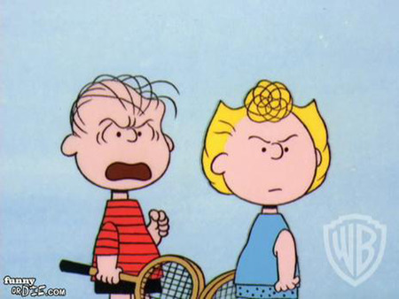 sally and linus arguing with someone while playing tennis ...