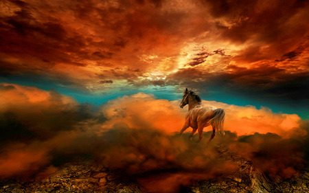 Fantasy Horse - animals, beautiful, cloud, blue, abstract, art, beauty, animal, magic, nice, sunset, clods, red, fantasy, horse, other, sky, colors, lovely, clouds, horses, fantasy horse, kingdom