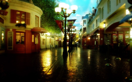 Romantic Place - splendor, evening, road, reflection, architecture, night, dark, nice, house, rainy, alley, street, lanterns, clouds, peaceful, city, lantern, beautiful, way, romantic, path, view, rain, walk, sky, colors, lights, houses, lovely, town, shops, dusk, romance