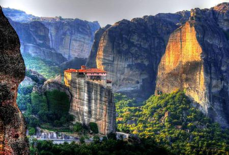 My country - monastery, greece, trees, rocks, mountains, forest, view