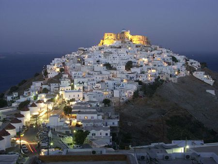 Greece - hill, castle, astypalea, island, village, night, greece