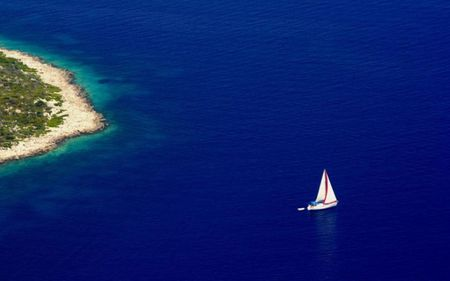 Only blue - sea, greece, blue, island, sailboat, boat