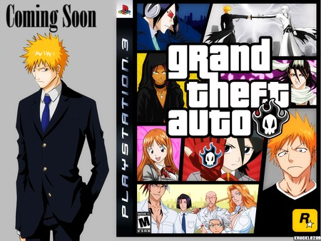Grand Theft Auto - yellow eyes, orihime, anime, tie, blue hair, ichigo, glasses, ribbons, byakoya, long hair, sword, petals, red hair, rukia, white hair, gloves, group, bleach, blue eyes, black eyes, suit, grand theft auto, short hair