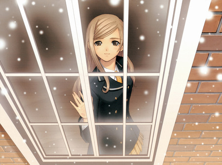 First Snow Fall - winter, snow, snowing, shining wind, anime girl, tony taka, cute, anime, t2, long hair, kureha