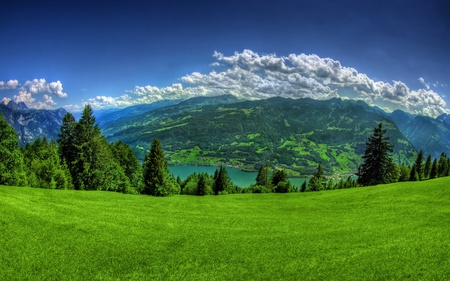 Amazing Place - green, amazing, beautiful, sky, forests, lakes, grass, nature, mountains