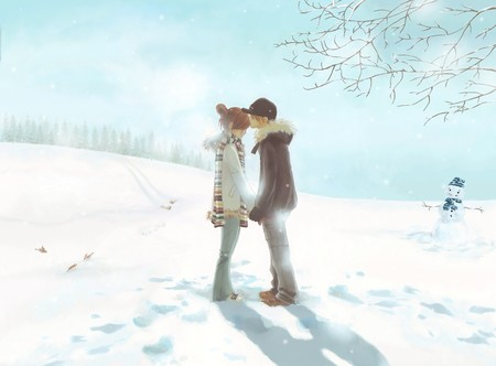 Young Love - young love, snow, tree, winter, anime, snowman