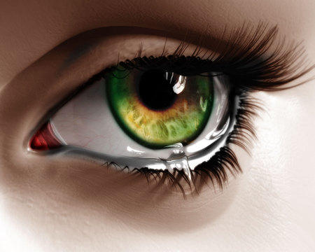 Grief (3D Art) - magic, 3d, 3d and cg, nac, thoughts, teardrop, eye, grief, graphics
