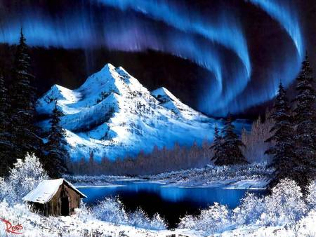 Painting by Bob Ross - Northern lights - trees, bob ross, snow, painting, cabin, mountain, northern lifgts