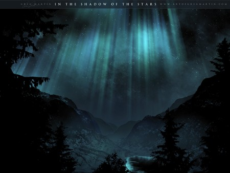 In the Shadow of the Stars - green, shadow, space art, borealis, lake, sky, blue, aurora borealis, night, stars, water, forest, mountains