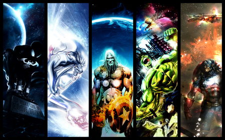 five heroes - spiderman, hulk, thor, captain america, marvel