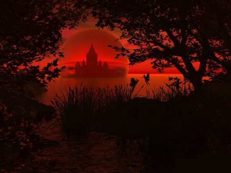 Mystical Castle - black, abstract, castles, red, art, castle, fantasy