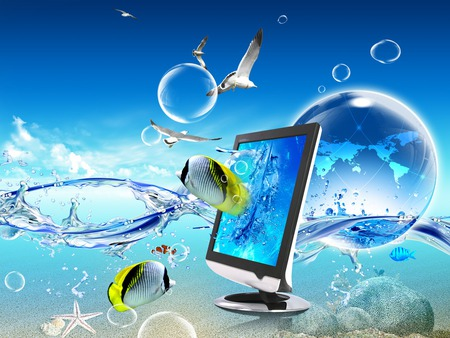 Fishtop - sea, laptop, ocean, fish, water