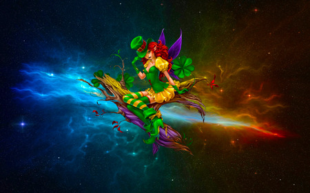 Irish In Galaxy - cool, glow, colorful, abstract, fractal, sparkling, anime, galaxy, starry
