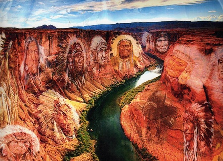 Valley of the Spirits - Art work by: James Crawford - indian, valley, haunt, sky, river, chiefs, cliffs, clounds