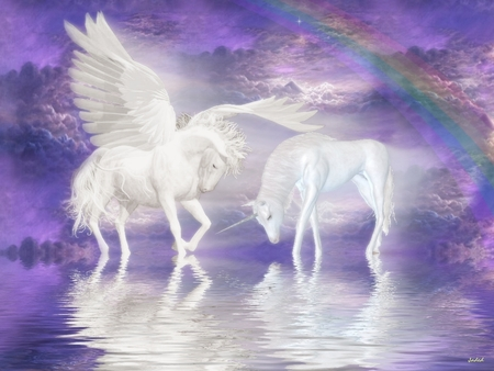 Friends Forever - unicornio, horse, graphics, greek mythology, reflection, abstract, friends, stallion, unicorn, fantasy horse, pegasus, rainbow, fantasy