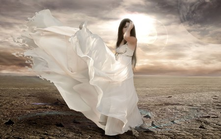 fantasy girl - scenery, cool, dreams, beautiful, bella, blues and green, pretty, ideal, beauty, sexy, beach, cloudy sky, scenic, imagen, nice, woman, white, fantasy, scene, cute, wonderful, favorita, hermoso, mujer, hd, widescreen, smooth, vestido, windy, ocean, magnific, dress