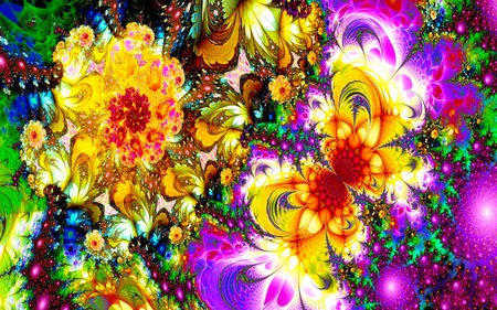 The Yellow Butterfly - butterfly, flowers, glow, colorful, abstract, fractal, sparkling