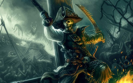 Curse of Pirate - adventure, reaper, movie, skelleton, pirates of the caribbean- armada of the damned, pirate, weapon, action, grim, legend