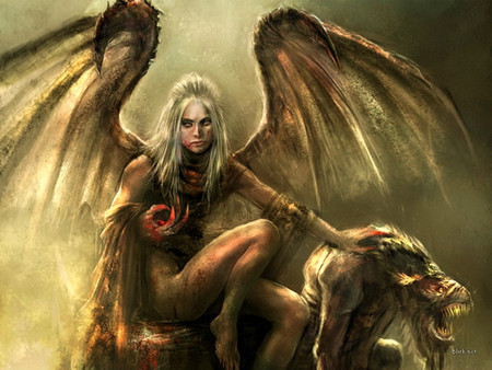 She-Demon and her Pet - wings, monster, scary, demon, sexy, fantasy, woman, beast, creature, satanic, horror, art, blood, evil