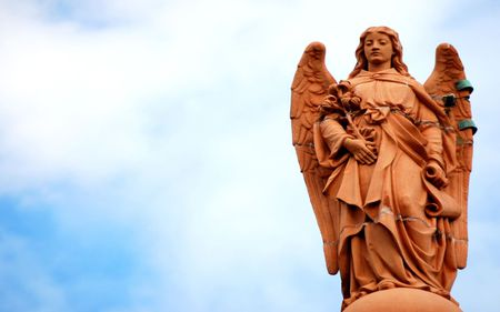 angel statue - wings, statue, sky, angel