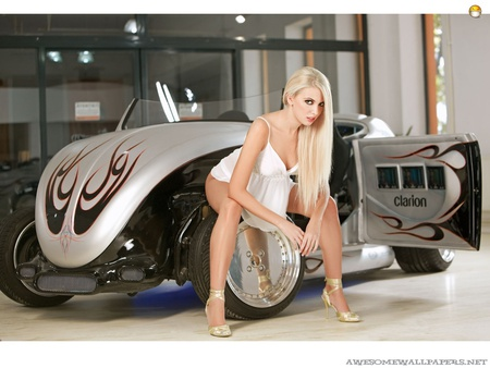 Hot Blonde Babe - babe, model, classic, hot rod