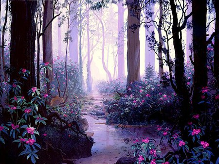 Magical Woodland - flowers, trees, mist, painting, water, fog, forest, stream, woods, creek