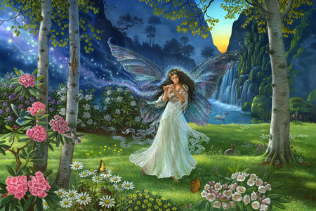 A Fairy's Melody - splendor, flowers, garden, waterfall, girl, water, melody, bunny, fairy, butterflies, flute, love, mountain, forest, rose, swan, place, trees, waterfalls, painting, paradise, hummingbird, maid, music, peaceful, wings, animals, meadow, forests, magic, landscape, sunset, grass, mountains, colorful, peace, wonderful, lovely, nature, sun, rabbit