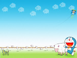 doraemon with a flock of sheep