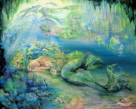 Dreams Of Atlantis - mermaid, abstract, dolphins, ocean, seashells, fantasy