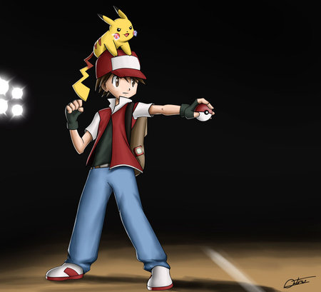 Trainer Red - ash, red, pokemon, anime