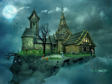 House in the sky - 3d, kids, clouds, blue, 3d and cg, birds, house, fantasy world, dreamy, hill, flying world, fantasy, full moon, its so cool, unknown, sky, graphics