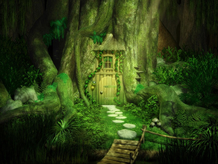 The Fantasy Door - green, trees, plants, grass, tree house, door, fantasy