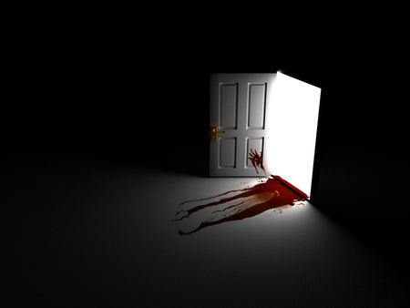 Horror - blood, horror, scary, bloody, door, i made a mess