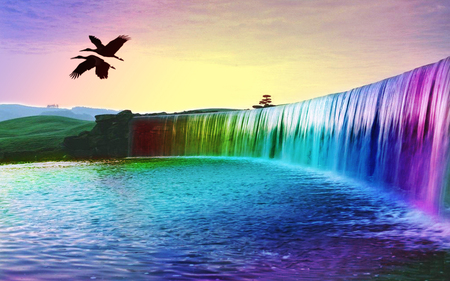 Rainbow Waterfalls Of Dreams - cool, sky, hot, rainbow waterfalls of dreams, birds, colourful