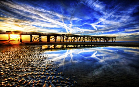 Bridge Of Blue Wonder - sunrise, glow, bridge, sky, river, reflection, blue