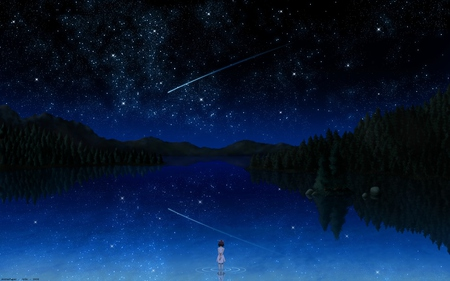 darker than black - cool, beautiful, reflection, arts, abstract, stars, lakes, night, dark, nice, starry, fantasy, cute, lovely, shooting, big, star, 3d, illustration, cg