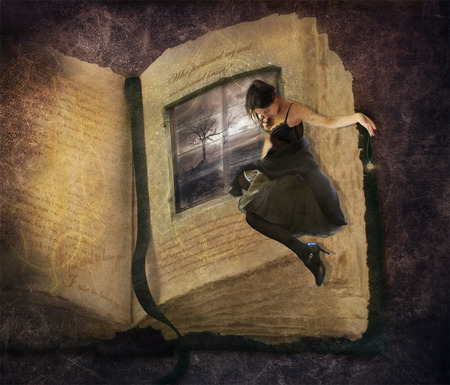 Life is an open Book - window, pages, woman, black, tree, book