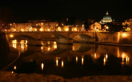 Roma - roma, beautiful, river, lights, houses, night, architecture, bridges, rome, italy, bridge