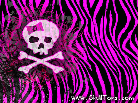 SKULL GIRLY - zebra, pink, girly